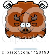 Clipart Of A Cartoon Chubby Buffalo Flying Royalty Free Vector Illustration by Cory Thoman