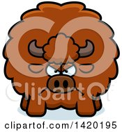 Clipart Of A Cartoon Mad Chubby Buffalo Royalty Free Vector Illustration by Cory Thoman