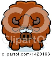 Clipart Of A Cartoon Depressed Chubby Buffalo Royalty Free Vector Illustration by Cory Thoman