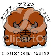 Clipart Of A Cartoon Chubby Buffalo Sleeping Royalty Free Vector Illustration by Cory Thoman