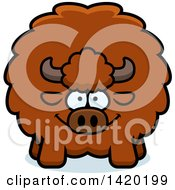 Clipart Of A Cartoon Chubby Buffalo Royalty Free Vector Illustration