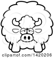 Clipart Of A Cartoon Black And White Lineart Depressed Chubby Buffalo Royalty Free Vector Illustration