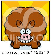 Clipart Of A Cartoon Chubby Boar Over Rays Royalty Free Vector Illustration by Cory Thoman