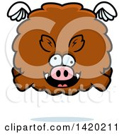 Clipart Of A Cartoon Chubby Crazy Boar Flying Royalty Free Vector Illustration by Cory Thoman