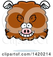 Clipart Of A Cartoon Chubby Boar Flying Royalty Free Vector Illustration by Cory Thoman