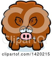 Clipart Of A Cartoon Depressed Chubby Boar Royalty Free Vector Illustration