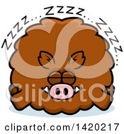 Clipart Of A Cartoon Chubby Boar Sleeping Royalty Free Vector Illustration by Cory Thoman