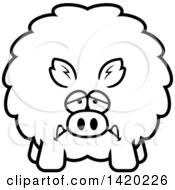 Clipart Of A Cartoon Black And White Lineart Depressed Chubby Boar Royalty Free Vector Illustration