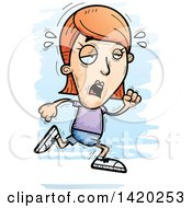 Clipart Of A Cartoon Doodled Exhausted White Woman Running Royalty Free Vector Illustration