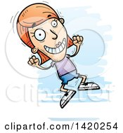 Clipart Of A Cartoon Doodled White Woman Jumping For Joy Royalty Free Vector Illustration