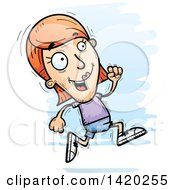 Clipart Of A Cartoon Doodled White Woman Running Royalty Free Vector Illustration