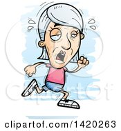 Clipart Of A Cartoon Doodled Exhausted Senior White Woman Running Royalty Free Vector Illustration