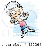 Clipart Of A Cartoon Doodled Senior White Woman Jumping For Joy Royalty Free Vector Illustration