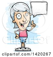 Clipart Of A Cartoon Doodled Senior White Woman Holding Up A Finger And Talking Royalty Free Vector Illustration