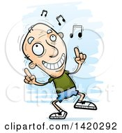 Clipart Of A Cartoon Doodled Senior White Man Dancing To Music Royalty Free Vector Illustration by Cory Thoman