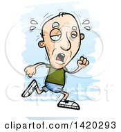 Clipart Of A Cartoon Doodled Exhausted Senior White Man Running Royalty Free Vector Illustration