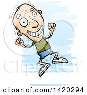 Clipart Of A Cartoon Doodled Senior White Man Jumping For Joy Royalty Free Vector Illustration by Cory Thoman