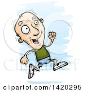 Clipart Of A Cartoon Doodled Senior White Man Running Royalty Free Vector Illustration by Cory Thoman