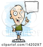 Clipart Of A Cartoon Doodled Senior White Man Holding Up A Finger And Talking Royalty Free Vector Illustration