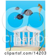 Three Fish And A Seahorse Swimming Near The Lost City Of Atlantis Clipart Illustration