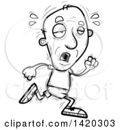 Clipart Of A Cartoon Black And White Lineart Doodled Exhausted Senior Man Running Royalty Free Vector Illustration