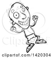 Clipart Of A Cartoon Black And White Lineart Doodled Senior Man Jumping For Joy Royalty Free Vector Illustration