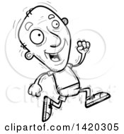 Clipart Of A Cartoon Black And White Lineart Doodled Senior Man Running Royalty Free Vector Illustration