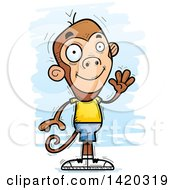 Clipart Of A Cartoon Doodled Friendly Monkey Waving Royalty Free Vector Illustration