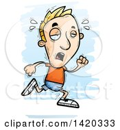 Clipart Of A Cartoon Doodled Exhausted Blond White Man Running Royalty Free Vector Illustration