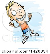 Clipart Of A Cartoon Doodled Blond White Man Jumping For Joy Royalty Free Vector Illustration
