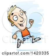 Clipart Of A Cartoon Doodled Blond White Man Running Royalty Free Vector Illustration