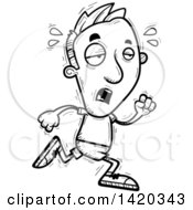 Clipart Of A Cartoon Black And White Lineart Doodled Exhausted Man Running Royalty Free Vector Illustration