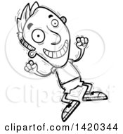 Clipart Of A Cartoon Black And White Lineart Doodled Man Jumping For Joy Royalty Free Vector Illustration