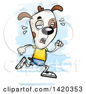 Clipart Of A Cartoon Doodled Exhausted Dog Running Royalty Free Vector Illustration