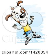 Clipart Of A Cartoon Doodled Dog Jumping For Joy Royalty Free Vector Illustration