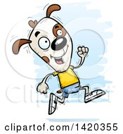 Clipart Of A Cartoon Doodled Dog Running Royalty Free Vector Illustration