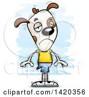 Clipart Of A Cartoon Doodled Dog Pouting Royalty Free Vector Illustration