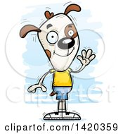 Clipart Of A Cartoon Doodled Friendly Dog Waving Royalty Free Vector Illustration