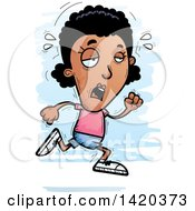 Clipart Of A Cartoon Doodled Exhausted Black Woman Running Royalty Free Vector Illustration by Cory Thoman