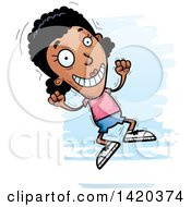Clipart Of A Cartoon Doodled Black Woman Jumping For Joy Royalty Free Vector Illustration by Cory Thoman