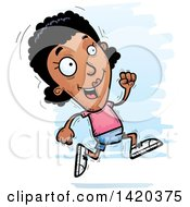 Clipart Of A Cartoon Doodled Black Woman Running Royalty Free Vector Illustration by Cory Thoman
