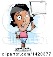 Clipart Of A Cartoon Doodled Black Woman Holding Up A Finger And Talking Royalty Free Vector Illustration by Cory Thoman