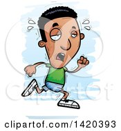 Clipart Of A Cartoon Doodled Exhausted Black Man Running Royalty Free Vector Illustration