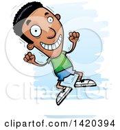 Clipart Of A Cartoon Doodled Black Man Jumping For Joy Royalty Free Vector Illustration