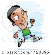 Clipart Of A Cartoon Doodled Black Man Running Royalty Free Vector Illustration