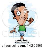 Clipart Of A Cartoon Doodled Friendly Black Man Waving Royalty Free Vector Illustration