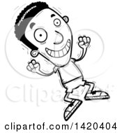 Clipart Of A Cartoon Black And White Lineart Doodled Black Man Jumping For Joy Royalty Free Vector Illustration