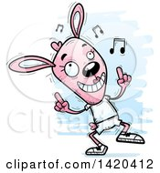 Clipart Of A Cartoon Doodled Pink Female Rabbit Dancing To Music Royalty Free Vector Illustration