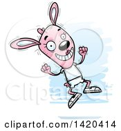Clipart Of A Cartoon Doodled Pink Female Rabbit Jumping For Joy Royalty Free Vector Illustration