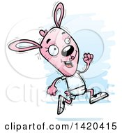 Clipart Of A Cartoon Doodled Pink Female Rabbit Running Royalty Free Vector Illustration